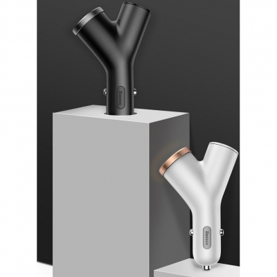 Автомобильная зарядка Baseus Y-shape Dual USB Car Charger with Cigarette Extended Port, фото 9