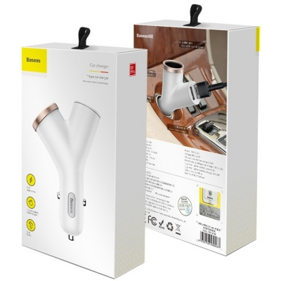 Автомобильная зарядка Baseus Y-shape Dual USB Car Charger with Cigarette Extended Port, фото 10
