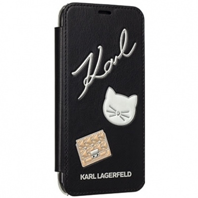 Чехол Karl Lagerfeld Embossed Pins Booktype для Apple iPhone X (KLFLBKPXPPIN) черный купить за 1190 руб.