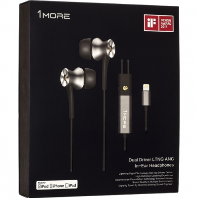 Lightning-наушники 1MORE E1004 Dual-Driver LTNG ANC In-Ear Headphone Lightning (серый), фото 12