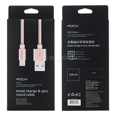 Кабель Rock Metal Charge & Sync Round Cable 100cm Lightning (золотой), фото 10